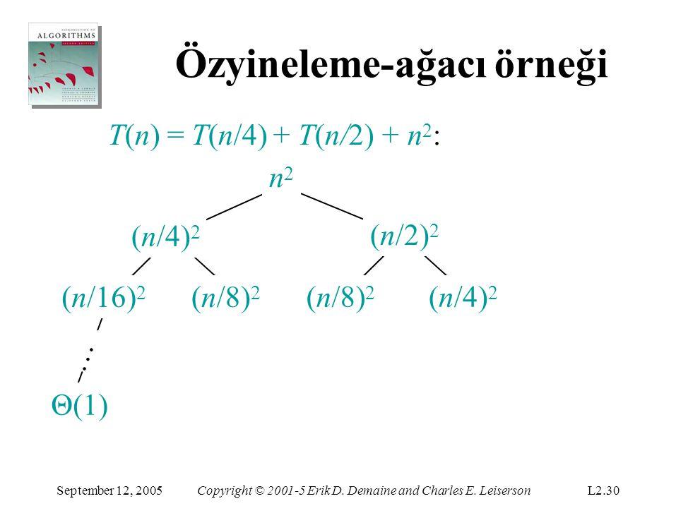 Özyineleme-ağacı örneği T(n) = T(n/4) + T(n/2) + n 2 : n2n2 n2n2 (n/16) 2 (n/8) 2 (n/4) 2 (n/2) 2 … September 12, 2005Copyright © 2001-5 Erik D.