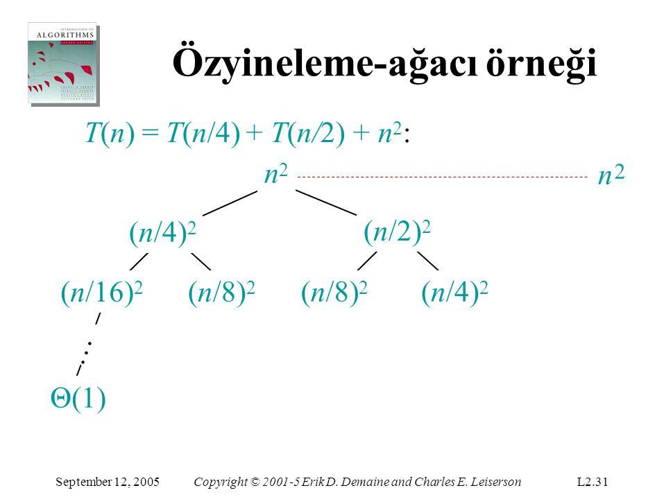 Özyineleme-ağacı örneği T(n) = T(n/4) + T(n/2) + n 2 : (n/16) 2 (n/8) 2 (n/4) 2 (n/2) 2 … 2 16 5 n 5 n n2n2 n2n2 September 12, 2005Copyright © 2001-5 Erik D.