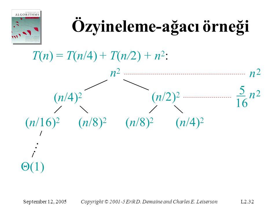 Özyineleme-ağacı örneği T(n) = T(n/4) + T(n/2) + n 2 : (n/16) 2 (n/8) 2 (n/4) 2 … 2 16 5 n 5 n n2n2 2 256 25 n n2n2 (n/2) 2 September 12, 2005Copyright © 2001-5 Erik D.