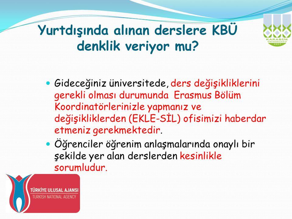 Yurtdışında alınan derslere KBÜ denklik veriyor mu.