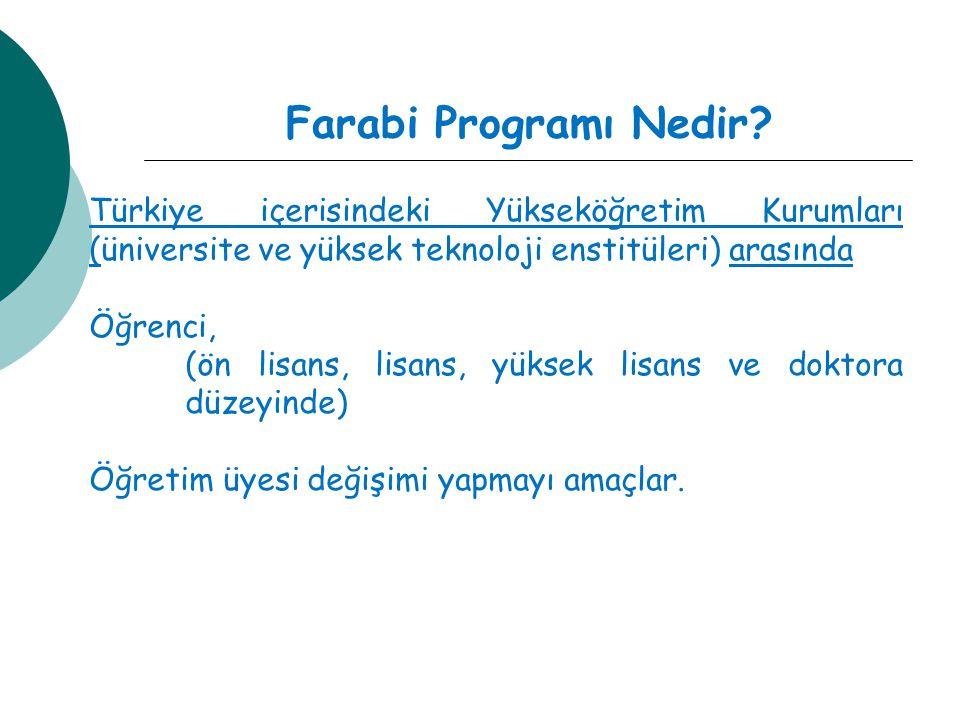 Farabi Programı Nedir? Türkiye içerisindeki Yükseköğretim Kurumları (üniversite ve yüksek teknoloji enstitüleri) arasında Öğrenci, (ön lisans, lisans,