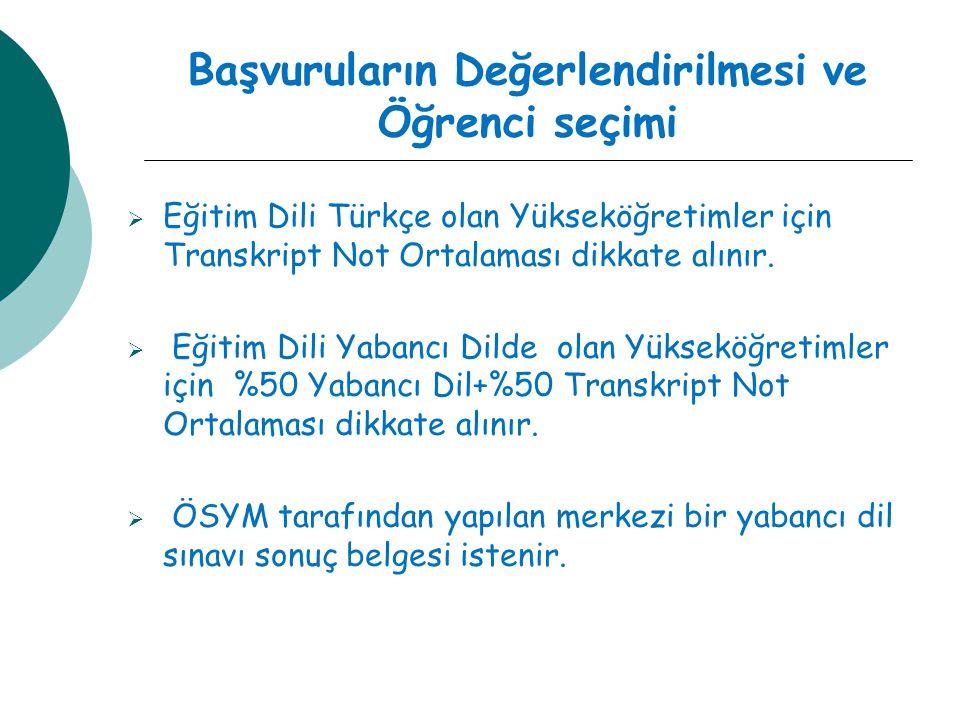 Başvuruların Değerlendirilmesi ve Öğrenci seçimi  Eğitim Dili Türkçe olan Yükseköğretimler için Transkript Not Ortalaması dikkate alınır.  Eğitim Di