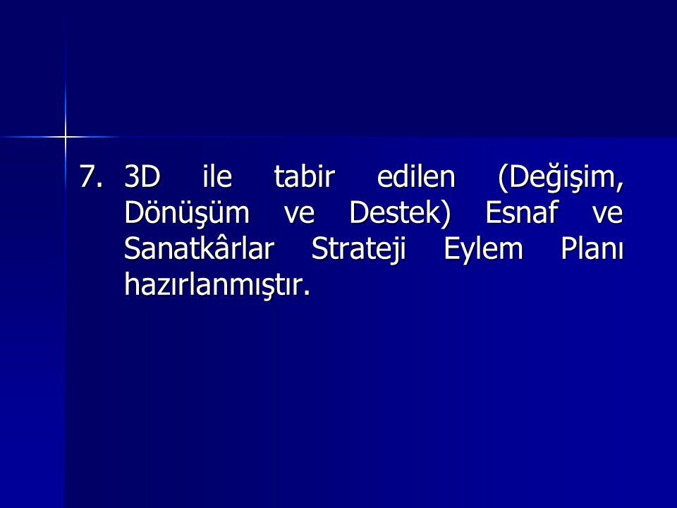 7.3D ile tabir edilen (Değişim, Dönüşüm ve Destek) Esnaf ve Sanatkârlar Strateji Eylem Planı hazırlanmıştır.