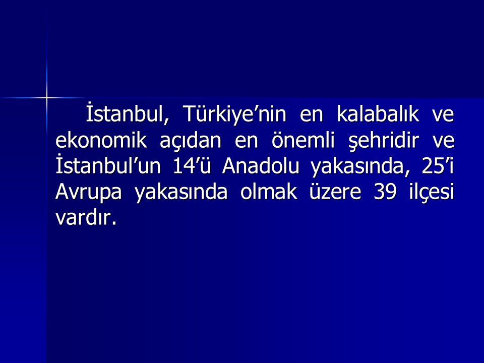 İstanbul, Türkiye'nin en kalabalık ve ekonomik açıdan en önemli şehridir ve İstanbul'un 14'ü Anadolu yakasında, 25'i Avrupa yakasında olmak üzere 39 i