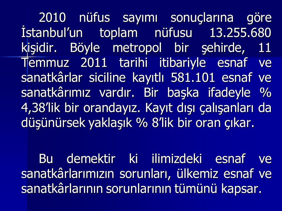 2010 nüfus sayımı sonuçlarına göre İstanbul'un toplam nüfusu 13.255.680 kişidir. Böyle metropol bir şehirde, 11 Temmuz 2011 tarihi itibariyle esnaf ve