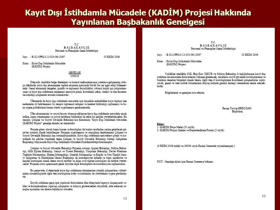 Kayıt Dışı İstihdamla Mücadele (KADİM) Projesi Hakkında Yayınlanan Başbakanlık Genelgesi