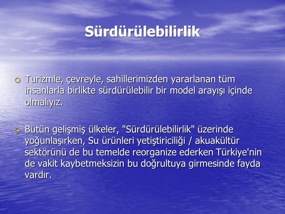Sürdürülebilirlik o Turizmle, çevreyle, sahillerimizden yararlanan tüm insanlarla birlikte sürdürülebilir bir model arayışı içinde olmalıyız. o Bütün