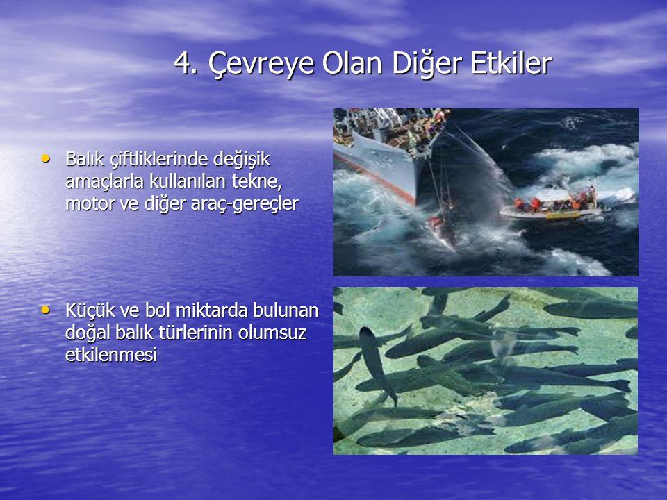 4. Çevreye Olan Diğer Etkiler Balık çiftliklerinde değişik amaçlarla kullanılan tekne, motor ve diğer araç-gereçler Balık çiftliklerinde değişik amaçl
