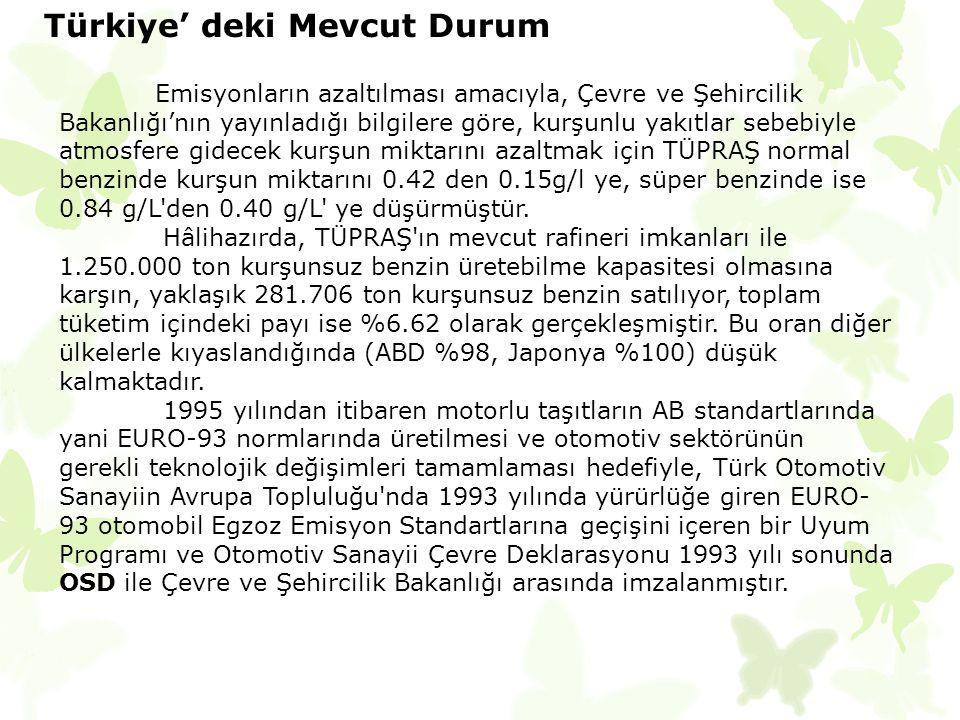 Türkiye' deki Mevcut Durum Emisyonların azaltılması amacıyla, Çevre ve Şehircilik Bakanlığı'nın yayınladığı bilgilere göre, kurşunlu yakıtlar sebebiyl