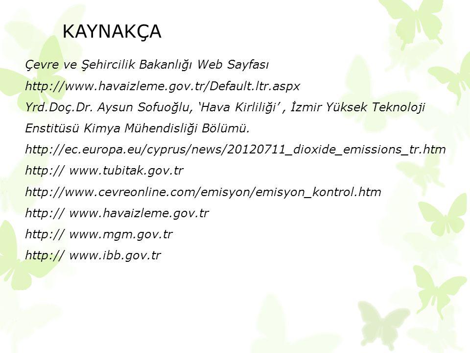 KAYNAKÇA Çevre ve Şehircilik Bakanlığı Web Sayfası http://www.havaizleme.gov.tr/Default.ltr.aspx Yrd.Doç.Dr. Aysun Sofuoğlu, 'Hava Kirliliği', İzmir Y