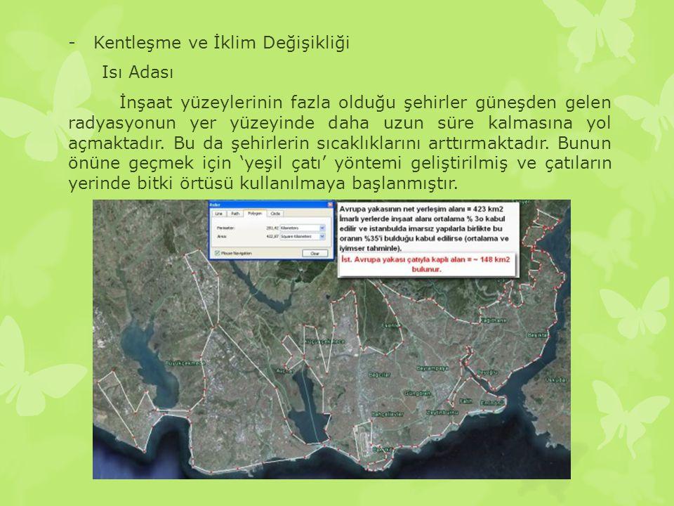 -Kentleşme ve İklim Değişikliği Isı Adası İnşaat yüzeylerinin fazla olduğu şehirler güneşden gelen radyasyonun yer yüzeyinde daha uzun süre kalmasına