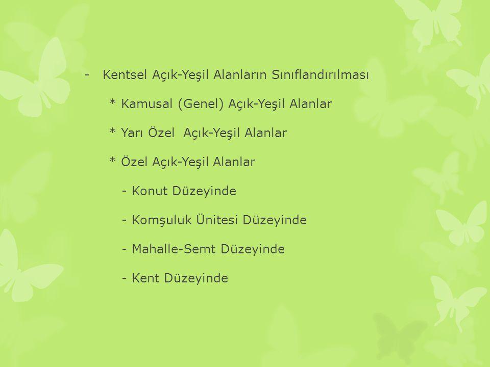 -Kentsel Açık-Yeşil Alanların Sınıflandırılması * Kamusal (Genel) Açık-Yeşil Alanlar * Yarı Özel Açık-Yeşil Alanlar * Özel Açık-Yeşil Alanlar - Konut