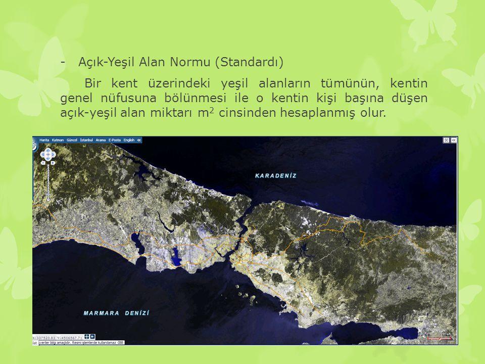 -Açık-Yeşil Alan Normu (Standardı) Bir kent üzerindeki yeşil alanların tümünün, kentin genel nüfusuna bölünmesi ile o kentin kişi başına düşen açık-ye