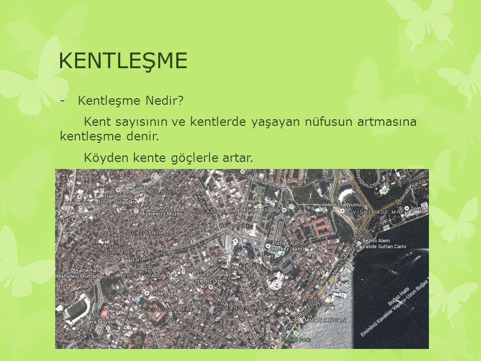 KENTLEŞME -Kentleşme Nedir? Kent sayısının ve kentlerde yaşayan nüfusun artmasına kentleşme denir. Köyden kente göçlerle artar.
