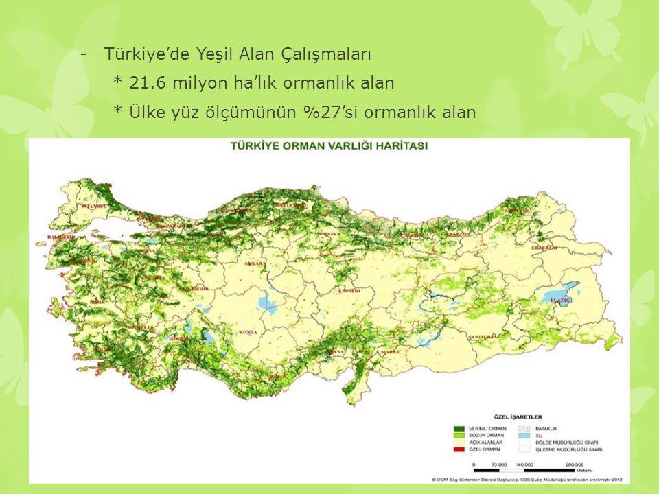 -Türkiye'de Yeşil Alan Çalışmaları * 21.6 milyon ha'lık ormanlık alan * Ülke yüz ölçümünün %27'si ormanlık alan