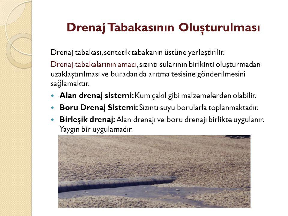 Drenaj Tabakasının Oluşturulması Drenaj tabakası, sentetik tabakanın üstüne yerleştirilir.