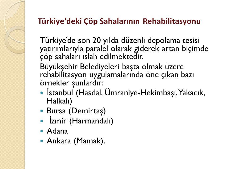Türkiye'deki Çöp Sahalarının Rehabilitasyonu Türkiye'de son 20 yılda düzenli depolama tesisi yatırımlarıyla paralel olarak giderek artan biçimde çöp sahaları ıslah edilmektedir.