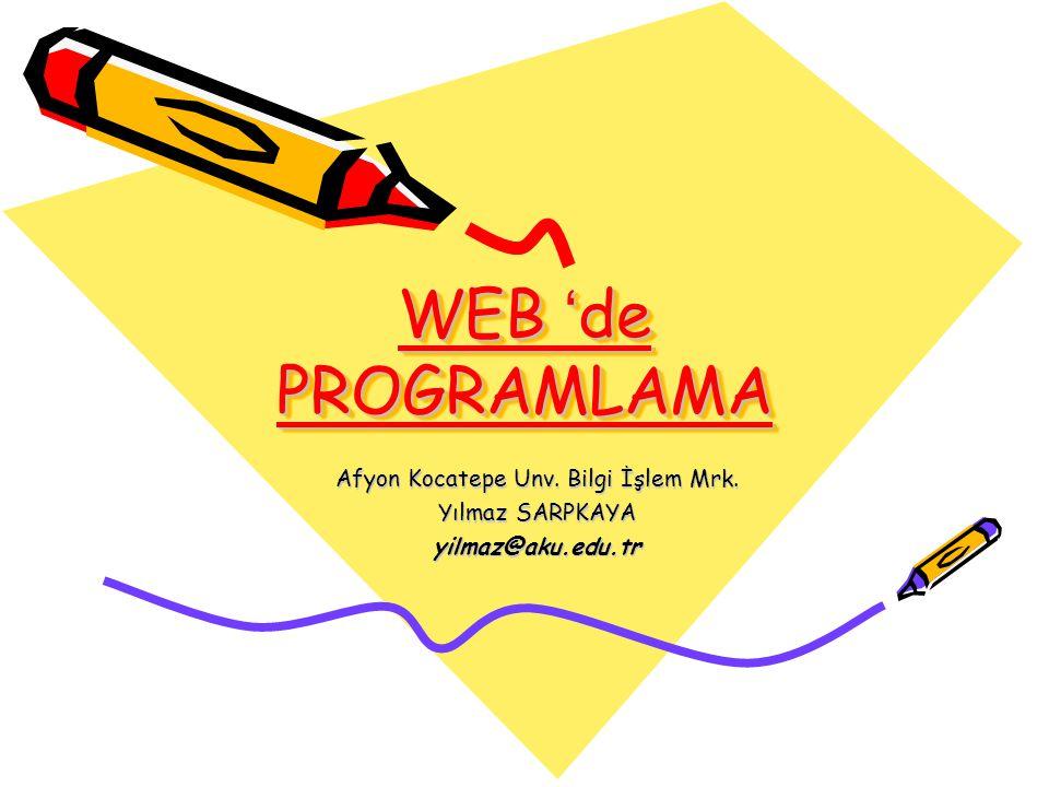 WEB ' de PROGRAMLAMA Afyon Kocatepe Unv. Bilgi İşlem Mrk. Yılmaz SARPKAYA yilmaz@aku.edu.tr