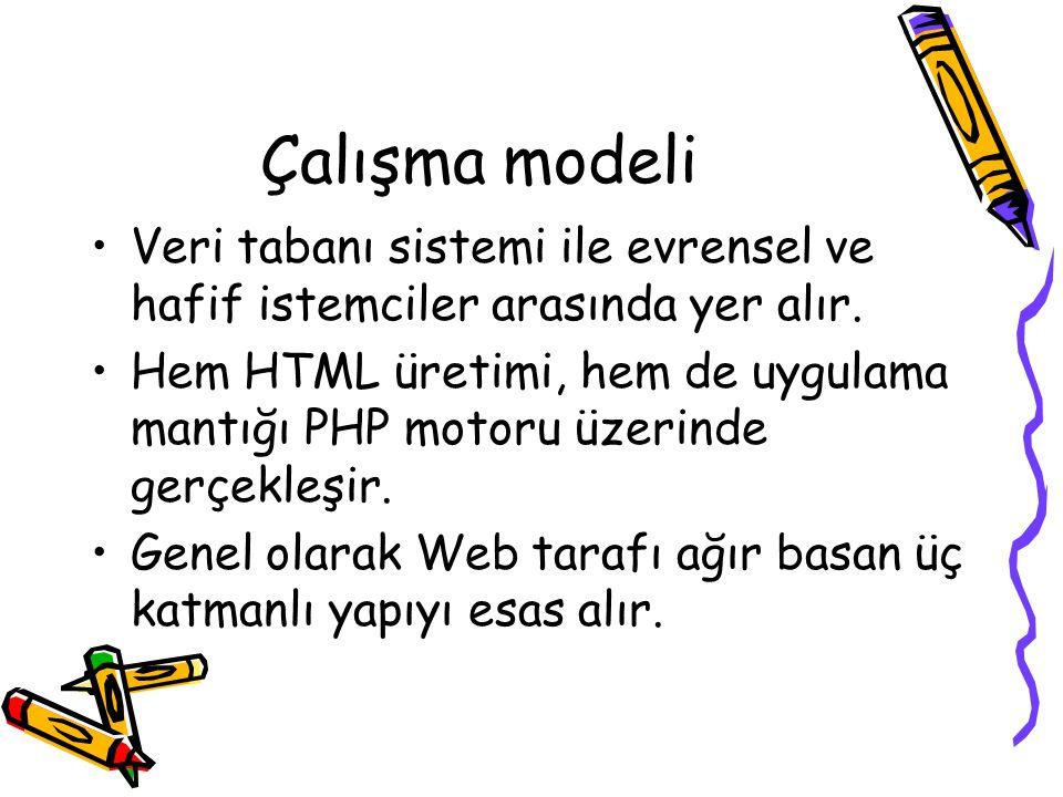 Çalışma modeli Veri tabanı sistemi ile evrensel ve hafif istemciler arasında yer alır. Hem HTML üretimi, hem de uygulama mantığı PHP motoru üzerinde g