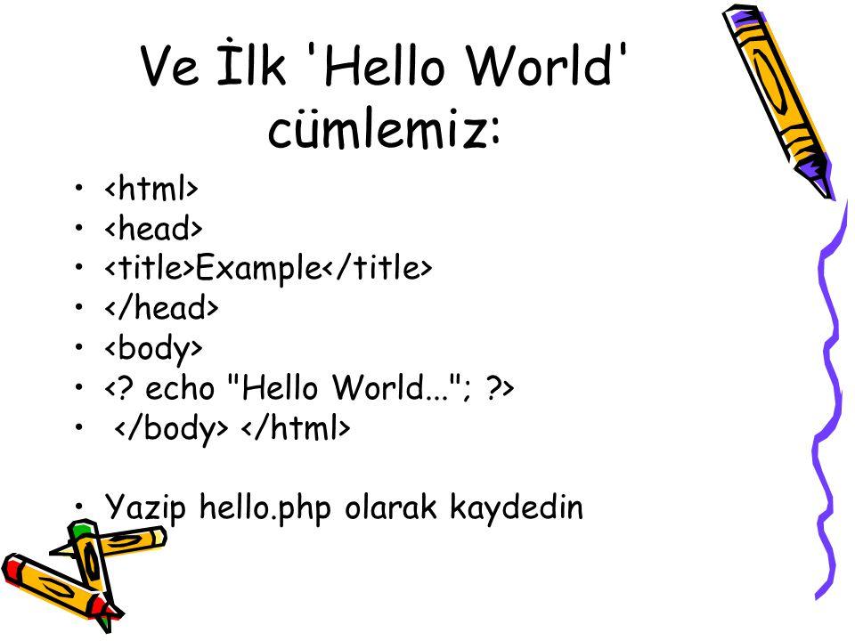 Ve İlk 'Hello World' cümlemiz: Example Yazip hello.php olarak kaydedin