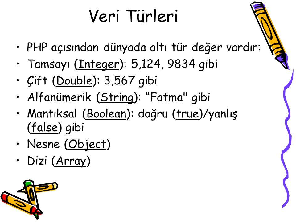"""Veri Türleri PHP açısından dünyada altı tür değer vardır: Tamsayı (Integer): 5,124, 9834 gibi Çift (Double): 3,567 gibi Alfanümerik (String): """"Fatma"""