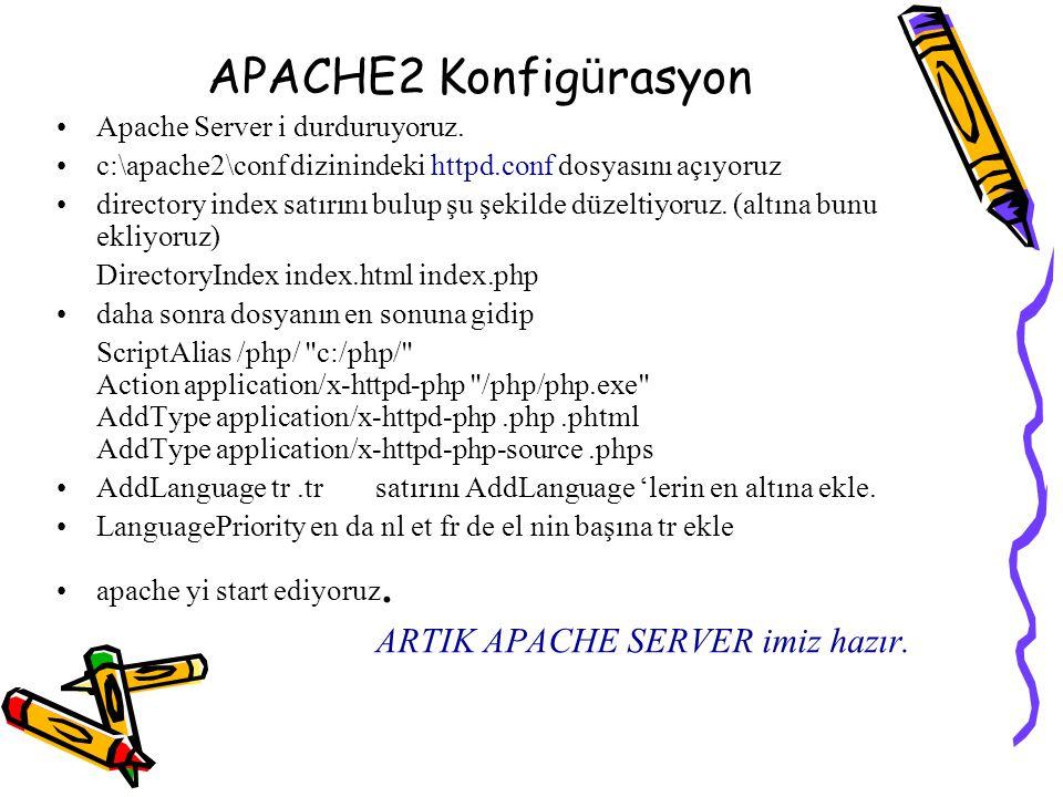 APACHE2 Konfig ü rasyon Apache Server i durduruyoruz. c:\apache2\conf dizinindeki httpd.conf dosyasını açıyoruz directory index satırını bulup şu şeki