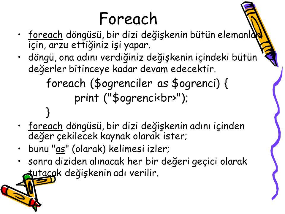 Foreach foreach döngüsü, bir dizi değişkenin bütün elemanları için, arzu ettiğiniz işi yapar.