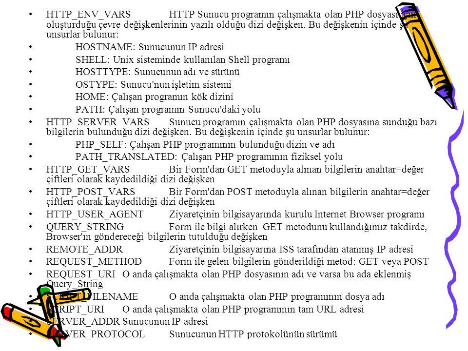 HTTP_ENV_VARSHTTP Sunucu programın çalışmakta olan PHP dosyası için oluşturduğu çevre değişkenlerinin yazılı olduğu dizi değişken. Bu değişkenin içind