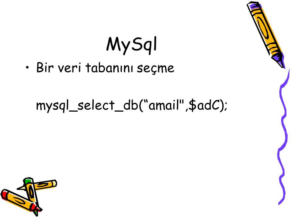 """MySql Bir veri tabanını seçme mysql_select_db(""""amail"""