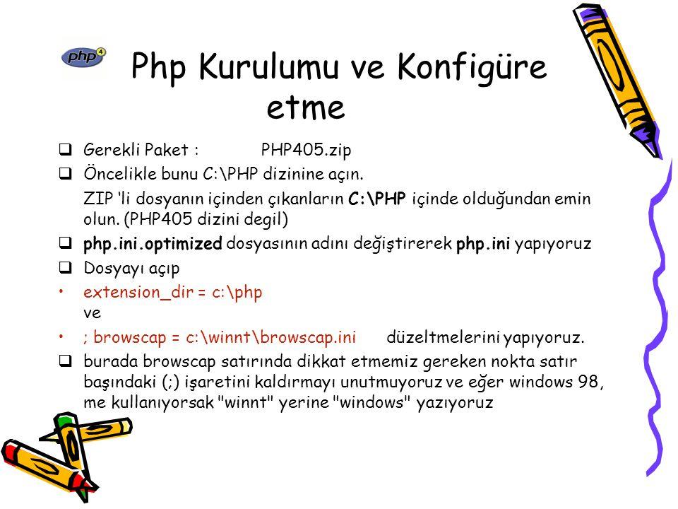 Veri Türleri PHP açısından dünyada altı tür değer vardır: Tamsayı (Integer): 5,124, 9834 gibi Çift (Double): 3,567 gibi Alfanümerik (String): Fatma gibi Mantıksal (Boolean): doğru (true)/yanlış (false) gibi Nesne (Object) Dizi (Array)