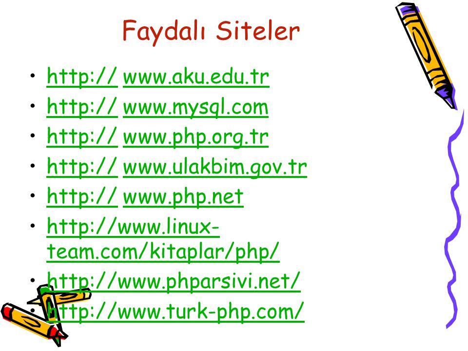 Faydalı Siteler http:// www.aku.edu.trhttp://www.aku.edu.tr http:// www.mysql.comhttp://www.mysql.com http:// www.php.org.trhttp://www.php.org.tr http:// www.ulakbim.gov.trhttp://www.ulakbim.gov.tr http:// www.php.nethttp://www.php.net http://www.linux- team.com/kitaplar/php/http://www.linux- team.com/kitaplar/php/ http://www.phparsivi.net/ http://www.turk-php.com/