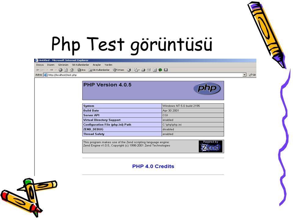Php Test görüntüsü