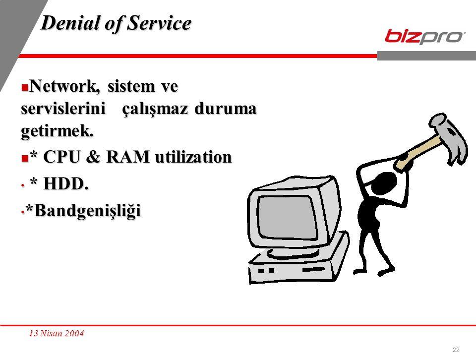 22 13 Nisan 2004 Denial of Service Network, sistem ve servislerini çalışmaz duruma getirmek. Network, sistem ve servislerini çalışmaz duruma getirmek.