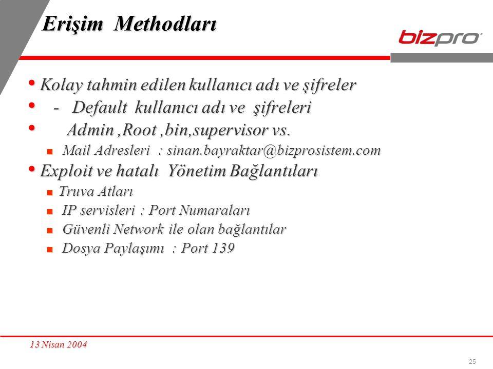 25 13 Nisan 2004 Erişim Methodları Kolay tahmin edilen kullanıcı adı ve şifreler Kolay tahmin edilen kullanıcı adı ve şifreler - Default kullanıcı adı