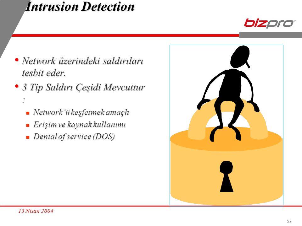 28 13 Nisan 2004 Intrusion Detection Network üzerindeki saldırıları tesbit eder. Network üzerindeki saldırıları tesbit eder. 3 Tip Saldırı Çeşidi Mevc
