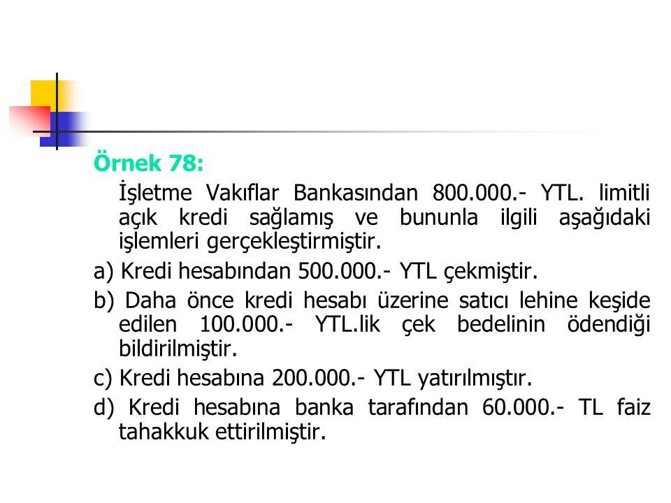 Örnek 78: İşletme Vakıflar Bankasından 800.000.- YTL. limitli açık kredi sağlamış ve bununla ilgili aşağıdaki işlemleri gerçekleştirmiştir. a) Kredi h