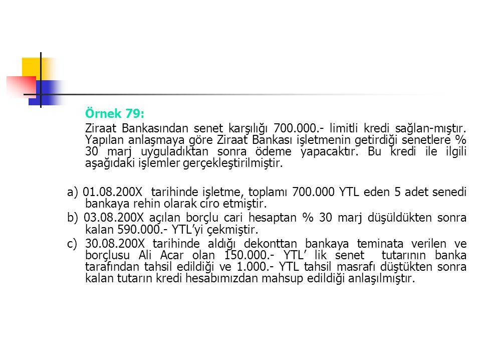 Örnek 79: Ziraat Bankasından senet karşılığı 700.000.- limitli kredi sağlan-mıştır. Yapılan anlaşmaya göre Ziraat Bankası işletmenin getirdiği senetle
