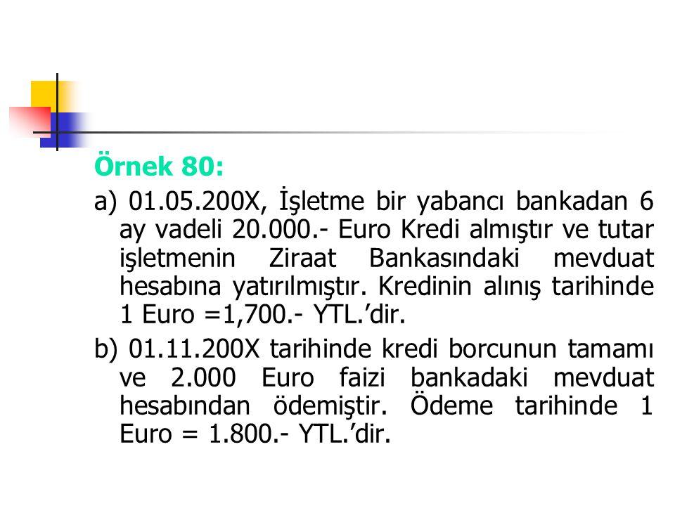 Örnek 80: a) 01.05.200X, İşletme bir yabancı bankadan 6 ay vadeli 20.000.- Euro Kredi almıştır ve tutar işletmenin Ziraat Bankasındaki mevduat hesabın