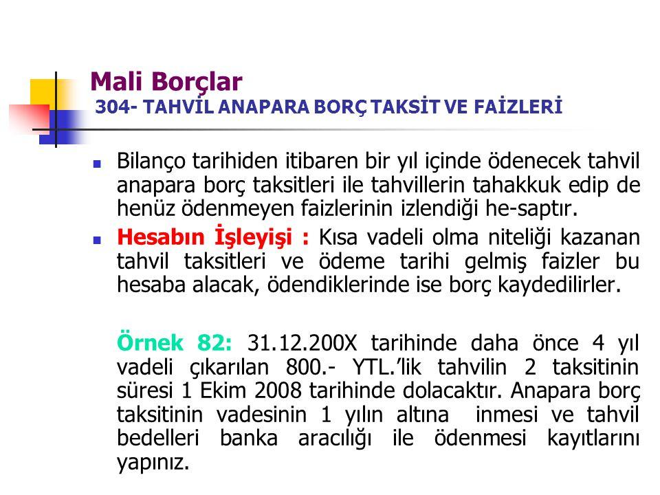 Mali Borçlar 304- TAHVİL ANAPARA BORÇ TAKSİT VE FAİZLERİ Bilanço tarihiden itibaren bir yıl içinde ödenecek tahvil anapara borç taksitleri ile tahvill