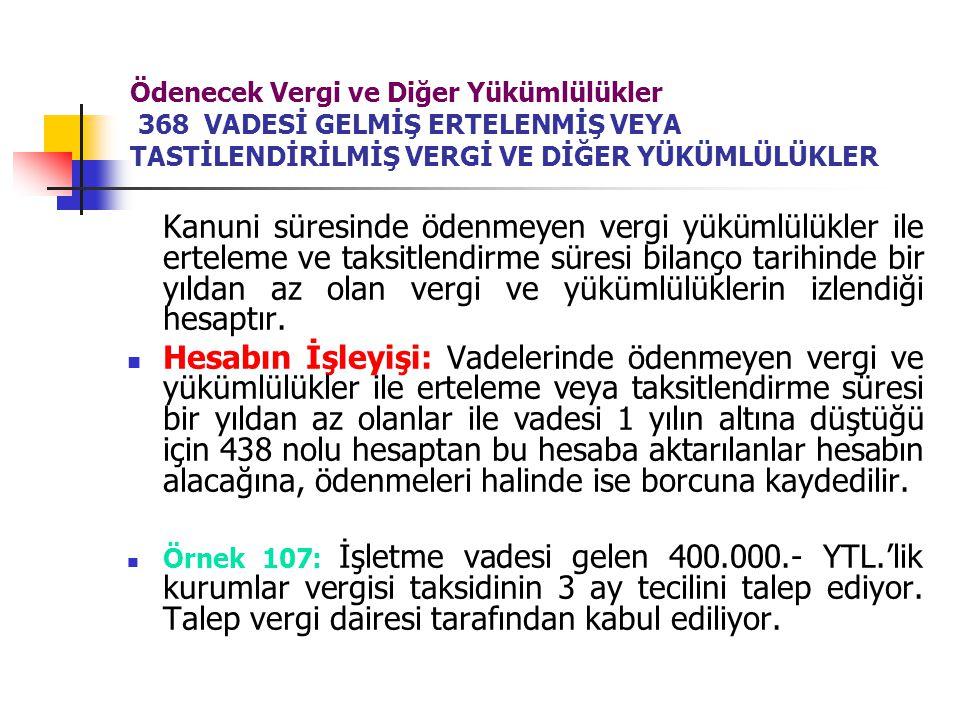 Ödenecek Vergi ve Diğer Yükümlülükler 368 VADESİ GELMİŞ ERTELENMİŞ VEYA TASTİLENDİRİLMİŞ VERGİ VE DİĞER YÜKÜMLÜLÜKLER Kanuni süresinde ödenmeyen vergi