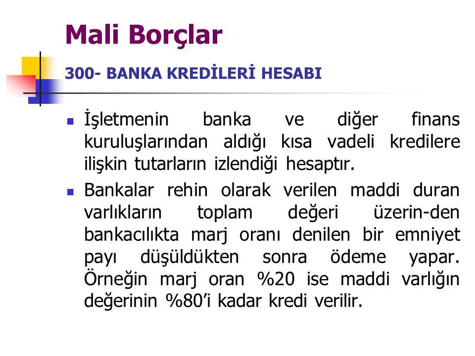Mali Borçlar 300- BANKA KREDİLERİ HESABI İşletmenin banka ve diğer finans kuruluşlarından aldığı kısa vadeli kredilere ilişkin tutarların izlendiği he