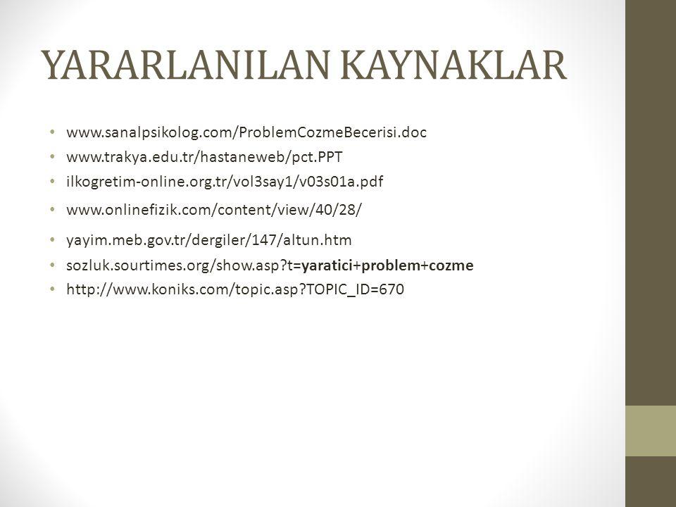 YARARLANILAN KAYNAKLAR www.sanalpsikolog.com/ProblemCozmeBecerisi.doc www.trakya.edu.tr/hastaneweb/pct.PPT ilkogretim-online.org.tr/vol3say1/v03s01a.pdf www.onlinefizik.com/content/view/40/28/ yayim.meb.gov.tr/dergiler/147/altun.htm sozluk.sourtimes.org/show.asp?t=yaratici+problem+cozme http://www.koniks.com/topic.asp?TOPIC_ID=670