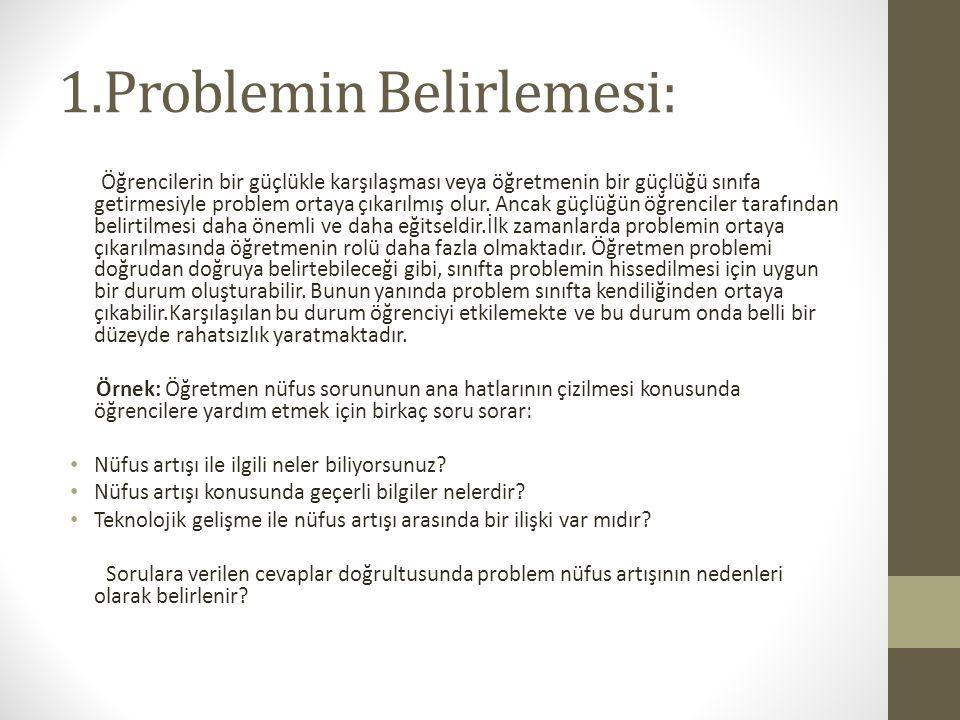 1.Problemin Belirlemesi: Öğrencilerin bir güçlükle karşılaşması veya öğretmenin bir güçlüğü sınıfa getirmesiyle problem ortaya çıkarılmış olur.