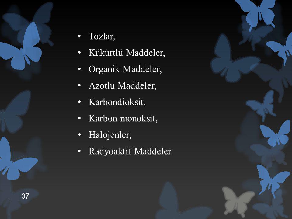 Tozlar, Kükürtlü Maddeler, Organik Maddeler, Azotlu Maddeler, Karbondioksit, Karbon monoksit, Halojenler, Radyoaktif Maddeler. 37