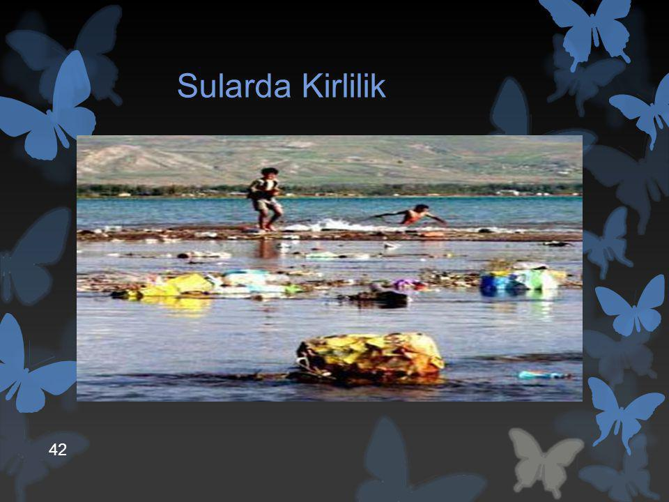 Sularda Kirlilik  Su kirliliği, suya karışan maddelerin, suyun fiziksel, kimyasal ve biyolojik özelliklerini değiştirmesidir. 42