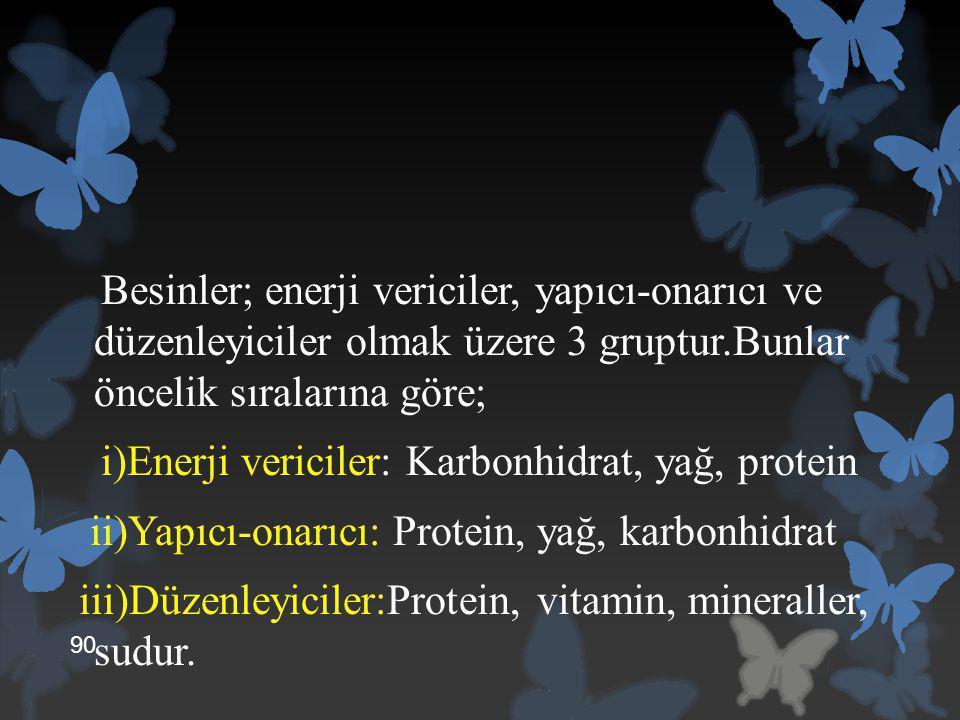 Besinler; enerji vericiler, yapıcı-onarıcı ve düzenleyiciler olmak üzere 3 gruptur.Bunlar öncelik sıralarına göre; i)Enerji vericiler: Karbonhidrat, y