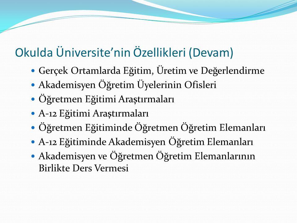 Okulda Üniversite'nin Özellikleri (Devam) Gerçek Ortamlarda Eğitim, Üretim ve Değerlendirme Akademisyen Öğretim Üyelerinin Ofisleri Öğretmen Eğitimi A
