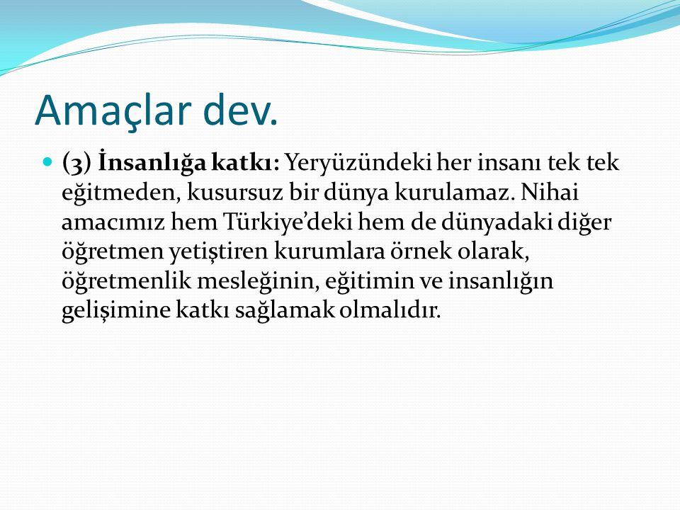 Amaçlar dev. (3) İnsanlığa katkı: Yeryüzündeki her insanı tek tek eğitmeden, kusursuz bir dünya kurulamaz. Nihai amacımız hem Türkiye'deki hem de düny