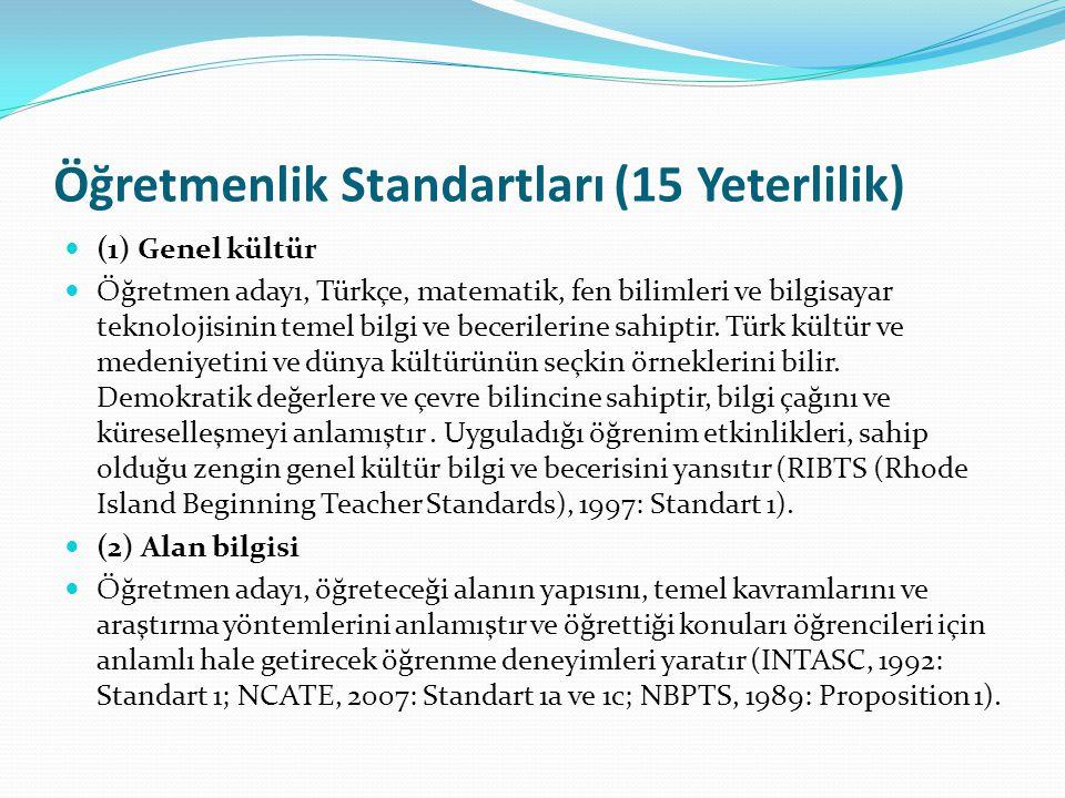 Öğretmenlik Standartları (15 Yeterlilik) (1) Genel kültür Öğretmen adayı, Türkçe, matematik, fen bilimleri ve bilgisayar teknolojisinin temel bilgi ve