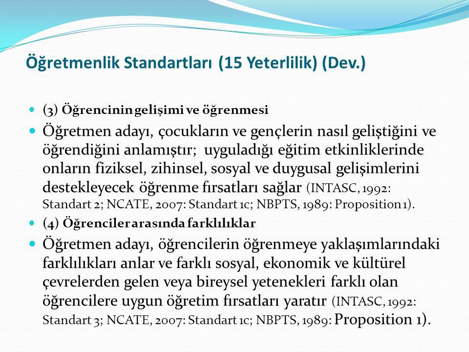 Öğretmenlik Standartları (15 Yeterlilik) (Dev.) (3) Öğrencinin gelişimi ve öğrenmesi Öğretmen adayı, çocukların ve gençlerin nasıl geliştiğini ve öğre